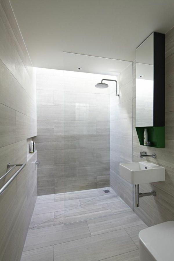 Une salle de bains grise l gance et chic contemporain for Carrelage salle de bain gris clair