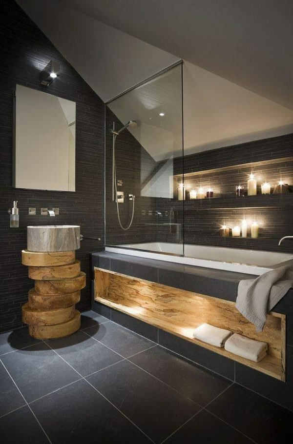 Lustre Salle De Bain Moderne : salle-de-bains-grise-une-salle-de-bains-en-gris-foncé