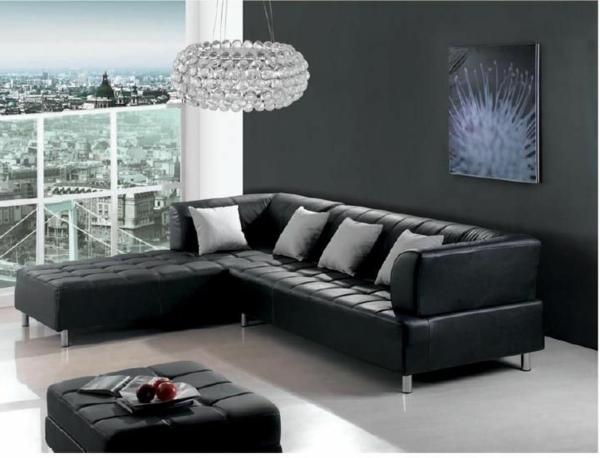 salle-de-séjour-sofa-en-noir-cuir