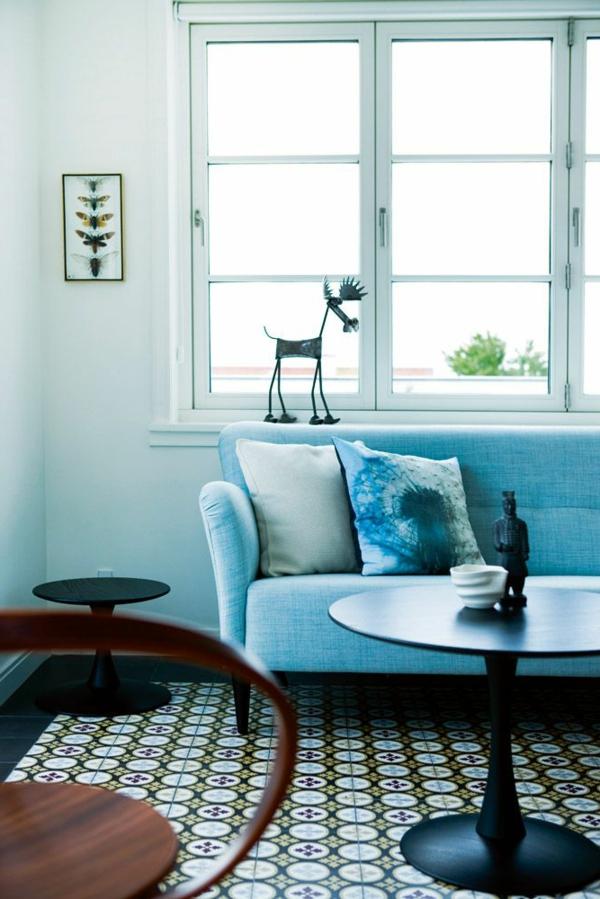salon-carrelage-intérieur-bleu