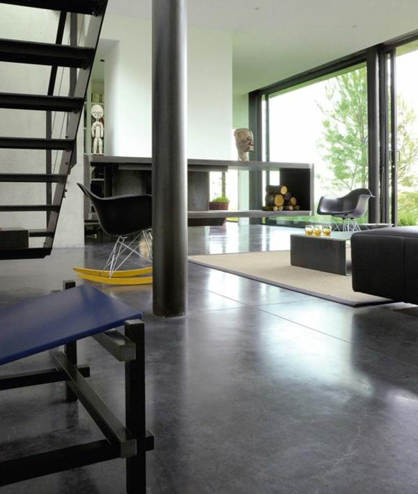 salon-moderne-revêtement-de-sol-en-lino