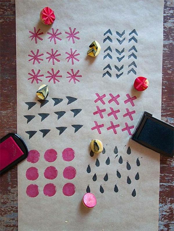 tampon-de-pomme-de-terre-pour-faire-motif-sur-papier-crafte-cadeau-emballage
