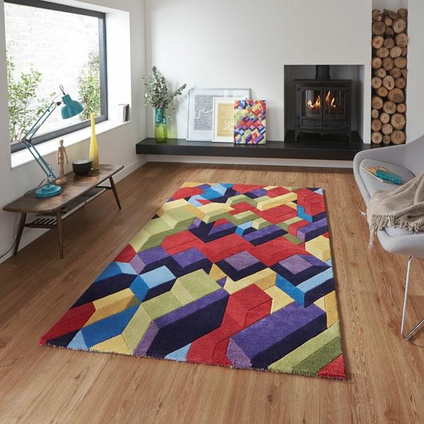tapis-multicolore-à-effet-3d-décoration-cheminée-rustique