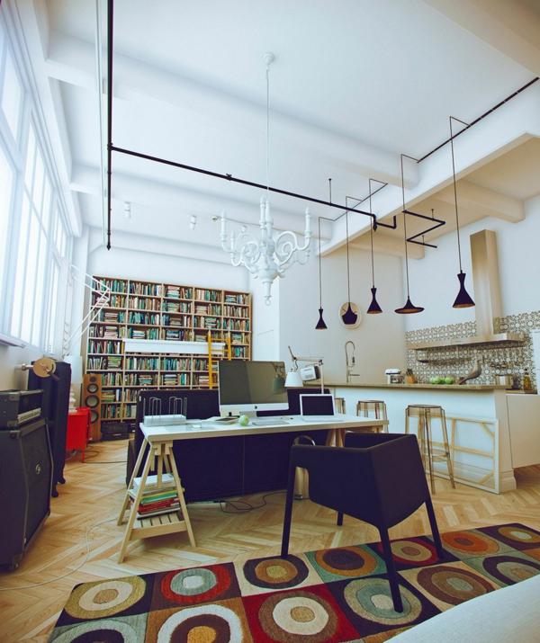 tapis-multicolore-et-bibilothèque-dans-la-cuisine
