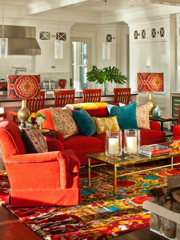 tapis multicolore, un intérieur vif à touche orientale, table basse ...