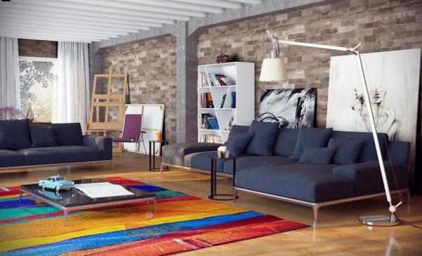 tapis multicolore, un salon moderne et spacieux