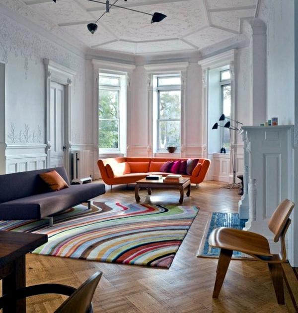 tapis-multicolore-salle-de-séjour-extravagante
