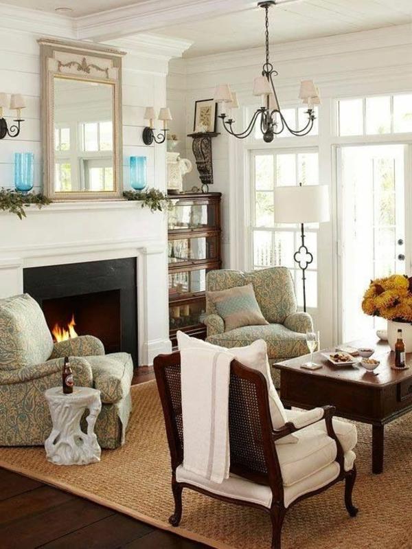 tapis-sisal-cheminée-contemporaine-et-chambre-vintage