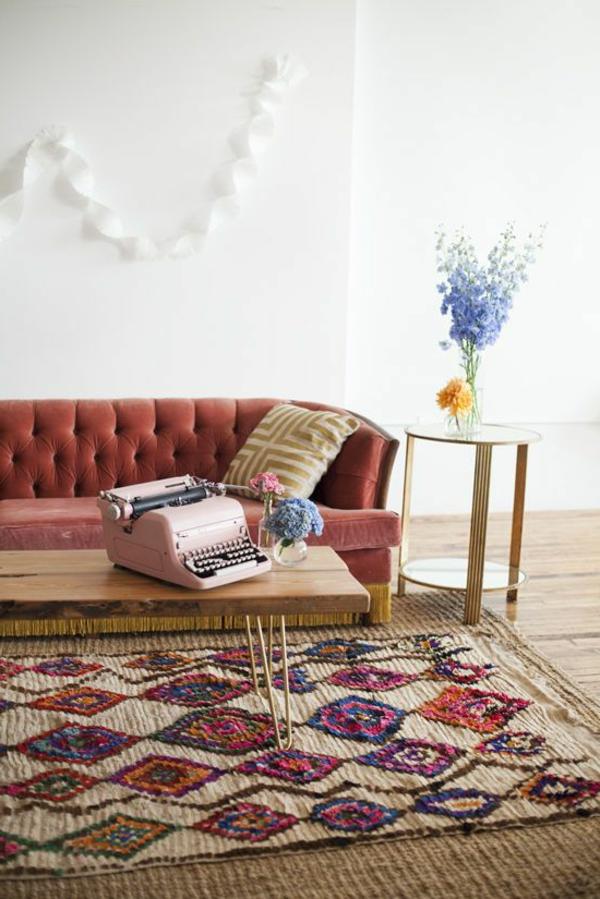 tapis-sisal-coloré-décor-vintage-très-original