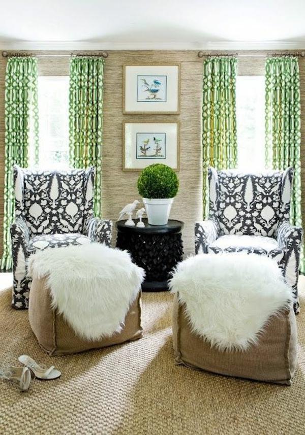 tapis-sisal-fauteuils-à-motifs-floraux