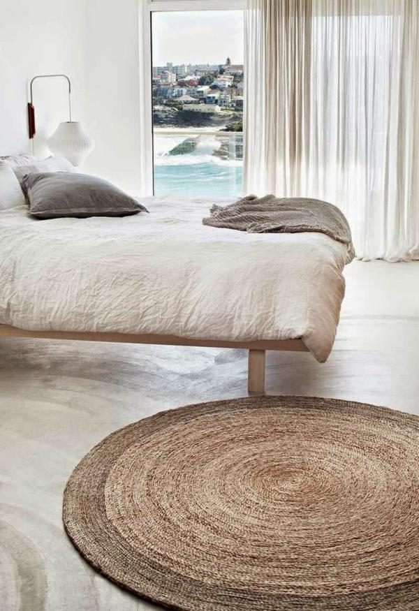 tapis-sisal-jolie-chambre-à-coucher-et-tapis-rond-en-sisal