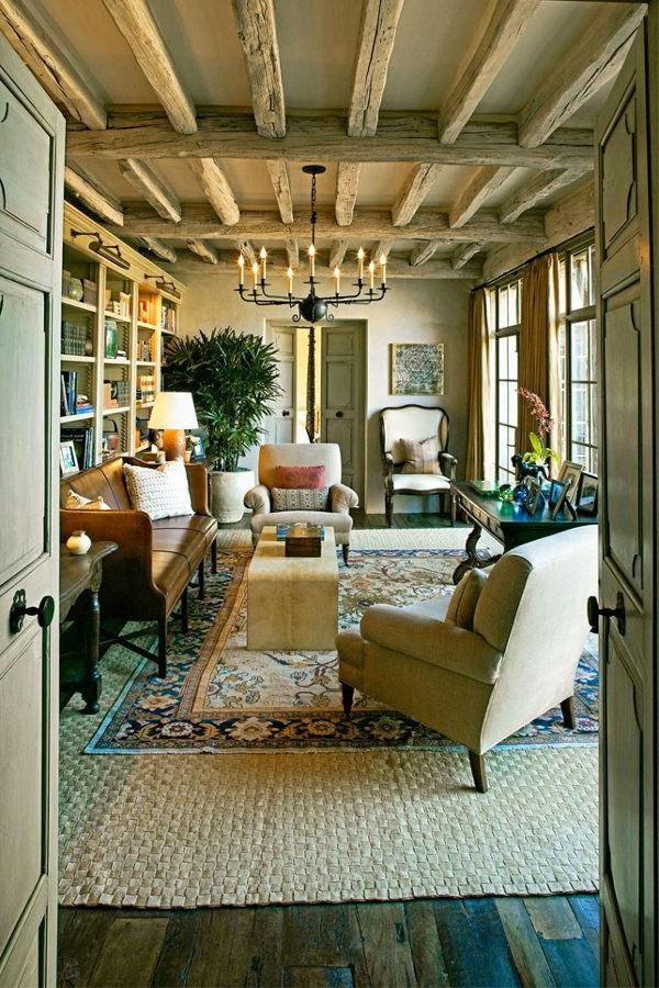 tapis-sisal-plafond-loft-et-plafonnier-rustique
