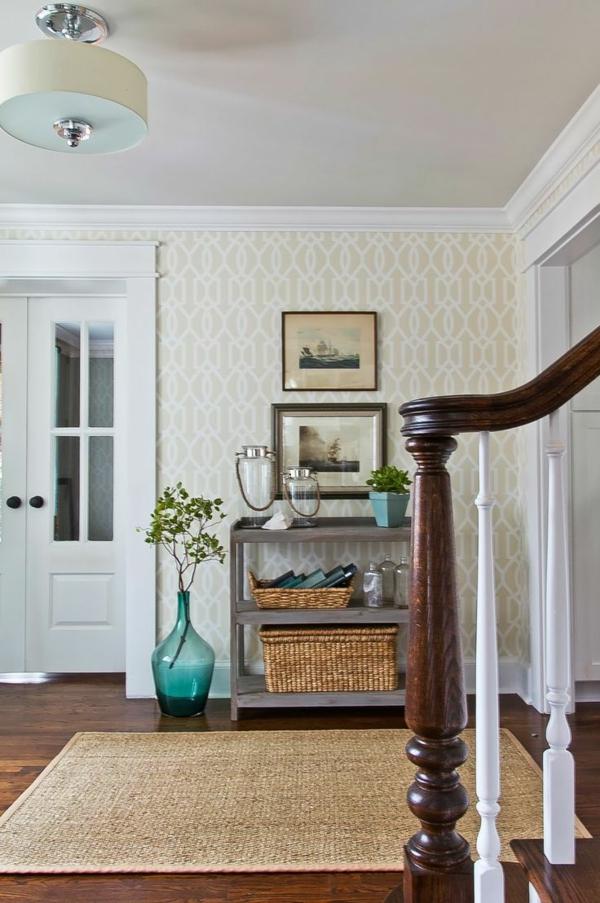 tapis-sisal-rectangulaire-et-vase-turquoise