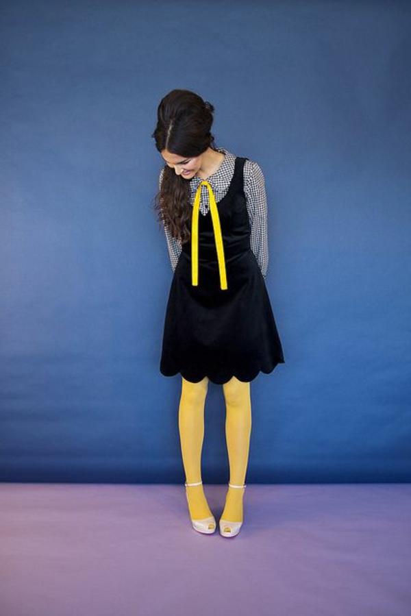 tendance-mode-robe-noir-jaune-cravate