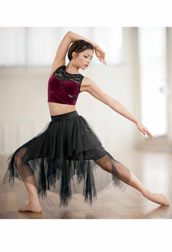 tenue-de-danse-moderne-jupe-noire-avec-chiffon