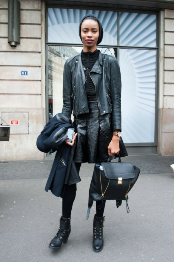 La jupe simili cuir une tendance top pour le printemps et l 39 t - Tenue avec jupe en cuir ...