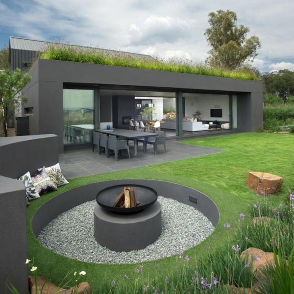 Le toit v g tal en 77 photos for Maison moderne grise