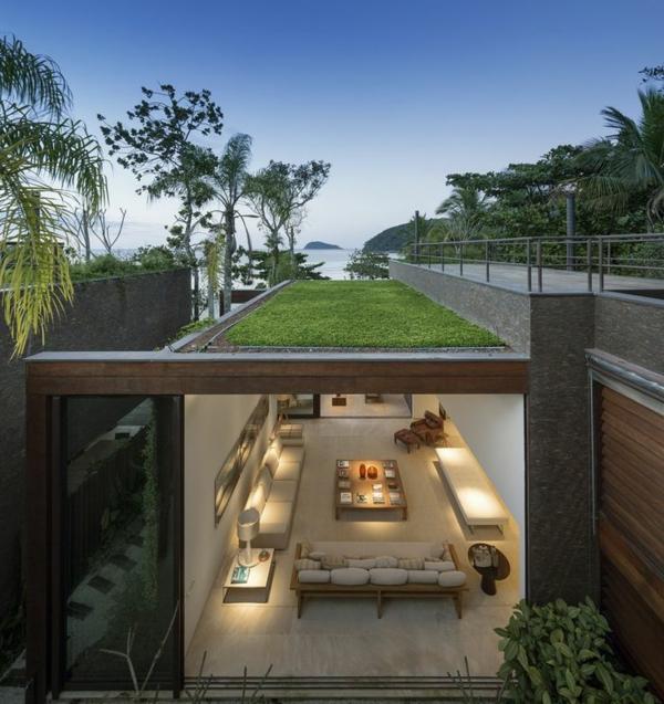 toit-végéteal-villa-moderne-avec-une-pelouse-sur-toit