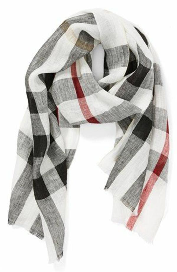 écharpe-burberry-jolie-idée-cadeau-blanc-ligne-rouge