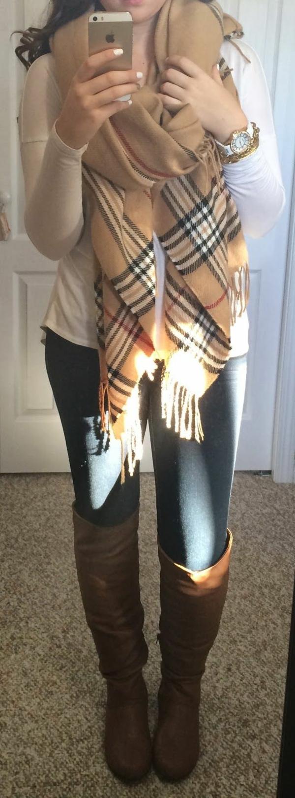 écharpe-femme-mode-tenues-motre-jeans-bottes