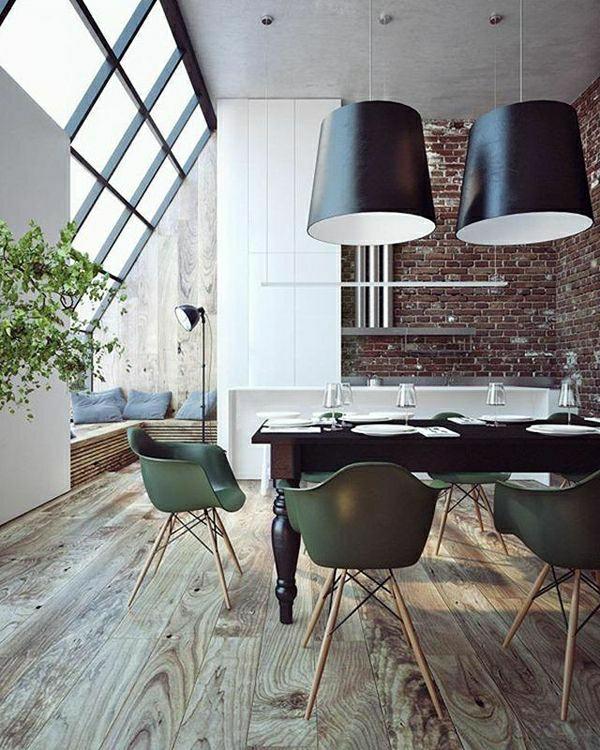meubles-industriels-aménagement-industriel-sol-en-parquet-salon ...