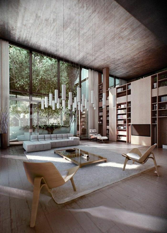 1-ateliers-et-lofts-plafond-haut-intérieur-meuble-tapis-beige-chaises-en-bois-chambre-pleine-de-lumière