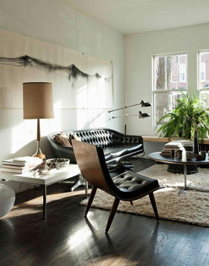 1-canapé-en-cuir-salon-en-cuir-peintures-fleurs-table-de-salon-table-basse-parquet-marron-foncé