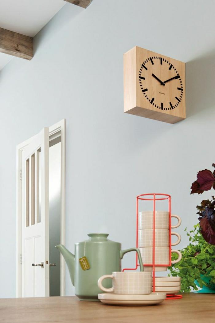 1-horloge-murale-décorative-horloge-en-bois-mur-gris-plante-verte-cuisine-salle-a-manger