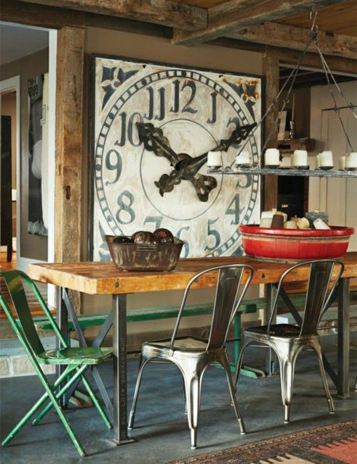 1-horloge-murale-de-style-vintage-salle-de-séjour-chaise-en-fer-coloré