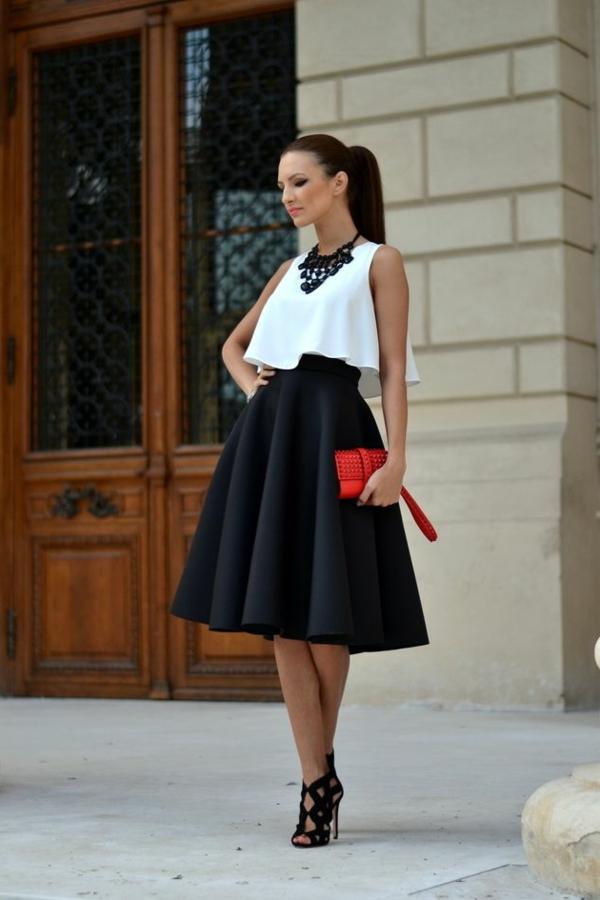 1-jupe-midi-élégante-noire-sac-rouge-femme-élégante-blanc-noir