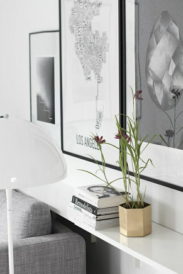 1-lampe-élégante-pour-lire-de-couleur-blanc-peintures-murales-blanc-noir-plantes-vertes