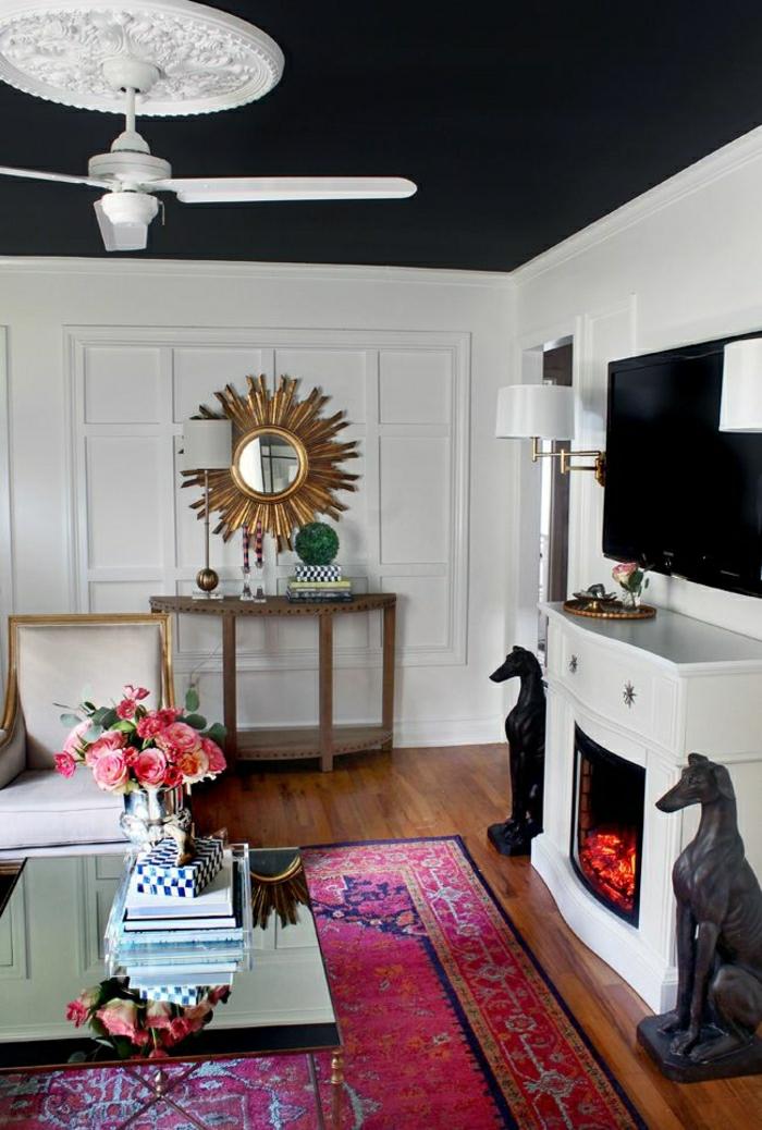 1-lustre-blanc-ventilateur-chambre-murs-gris-miroir-décoratif-cheminée