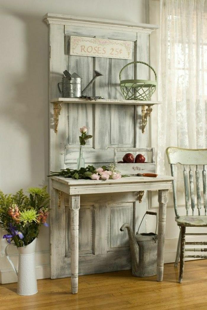 1-meuble-console-en-bois-d-appoint-blanc-de-style-rustique-fleurs-chaise-en-bois-blanche