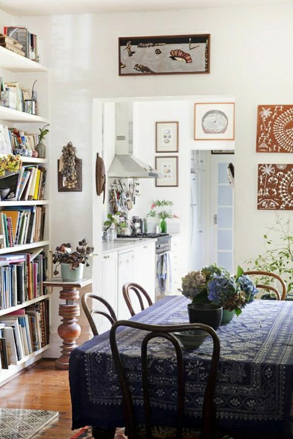 1-nappe-de-table-de-style-rustique-nappe-bleu-foncé-salle-de-séjour-livres-fleurs