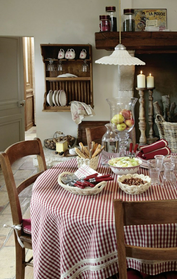 1-nappe-de-table-rouge-blanc-aux-carreaux-de-style-rustique-chamre-de-séjour-table-chaises-en-bois