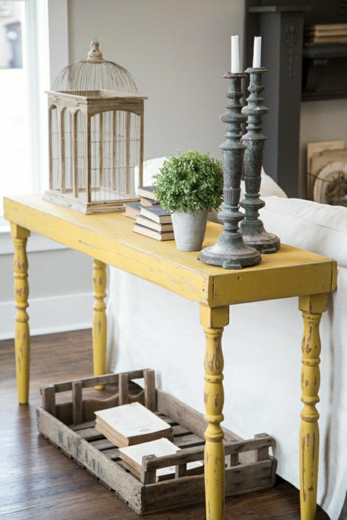 1-petit-meuble-en-bois-bleu-meuble-entrée-d-appoint-plantes-vertes-idée-belle