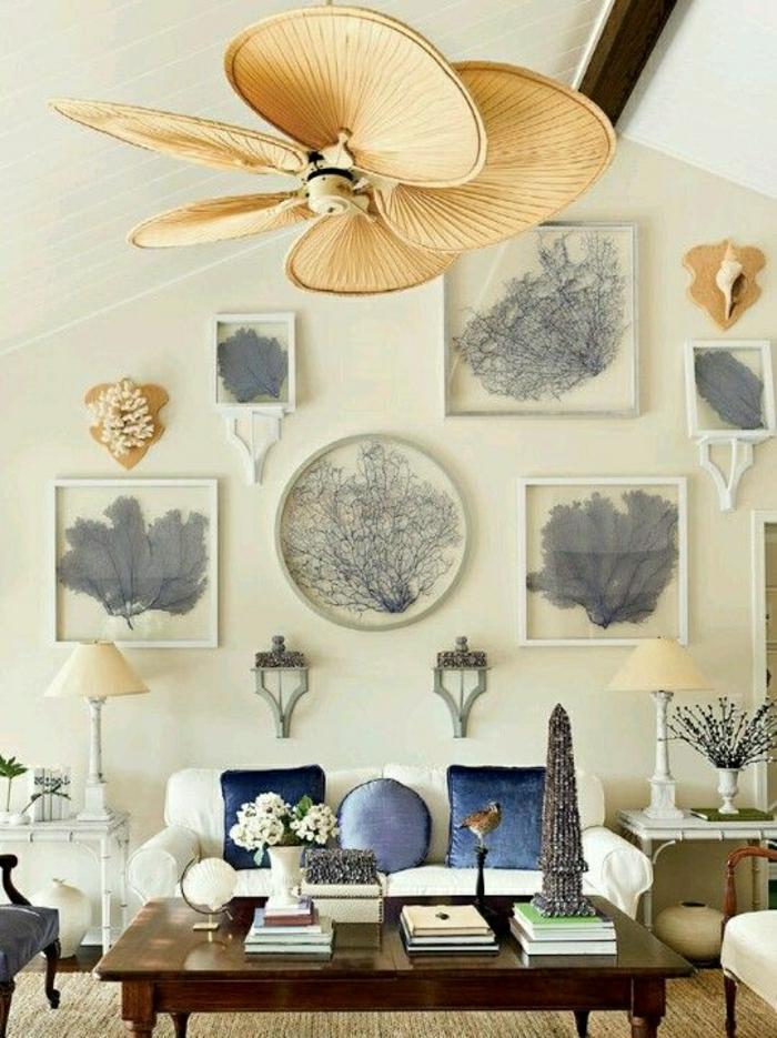 1-plafonnier-ventilateur-design-insolite-lustre-salon-moderne-extraordinaire-canapé-blanc-pintures-fleurs-table-en-bois