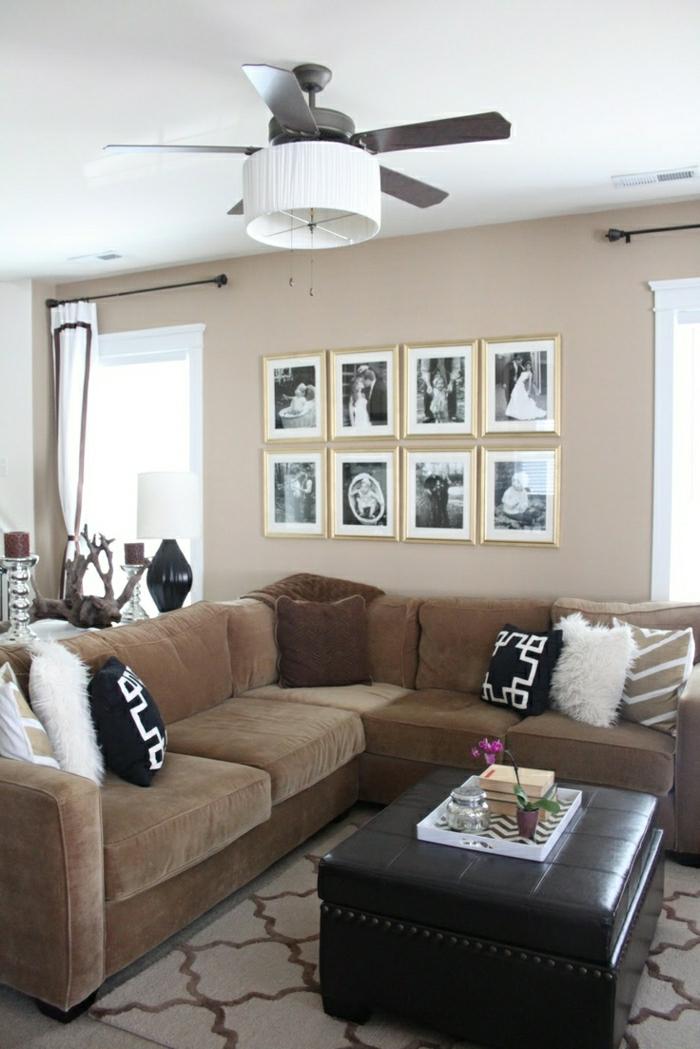 1-plafonnier-ventilateur-design-salon-canapé-marron-foncé-peintures-murales