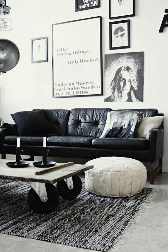1-salon-en-cuir-noir-tapis-sol-en-lin-aménagement-industriel-faire-soi-meme-table-basse