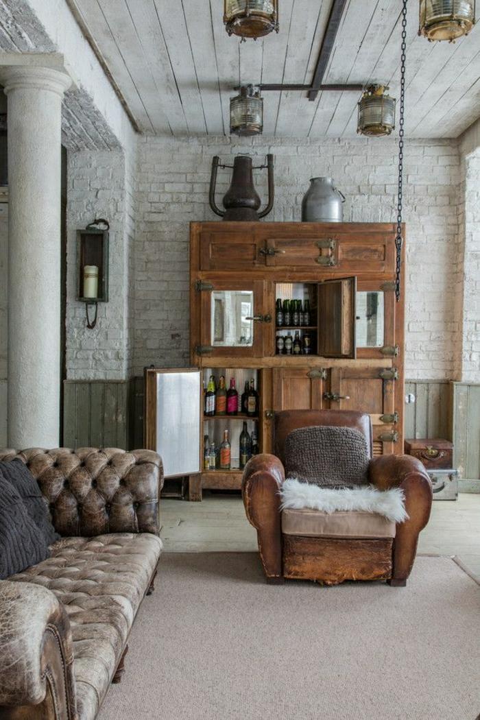 37 salon rustique salon en cuir marron fonc meuble en bois mur brique - Salon Mur Marron