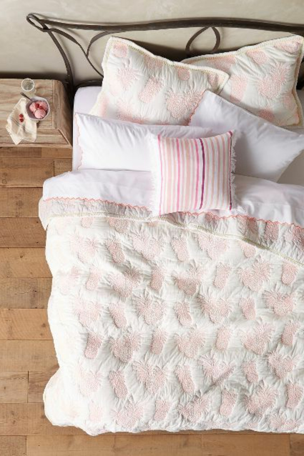 Boutis-couvre-lit-chambre-à-coucher-coussins-ananas