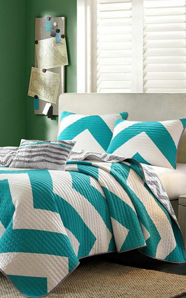 Le couvre lit boutis en 75 images - Chambre vert et gris ...