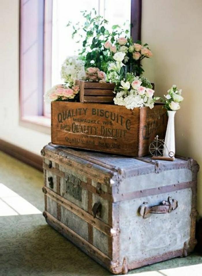 Déco Mignon Vintage Valise Fleurs Coffre Roses