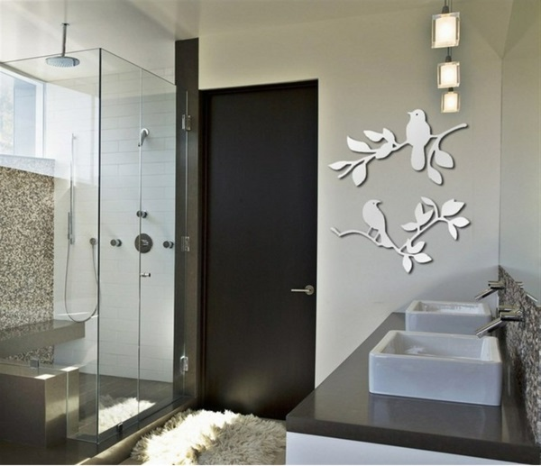 Miroir-design-stickers-muraux-idée-oiseaux-sur-arbre-salle-de-bain