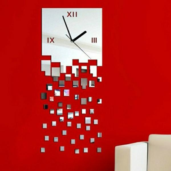 Sticker-mural-miroir-reflection-mur-rouge-horloge