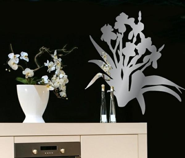 Stickers-miroir-decoration-murale-fleurs