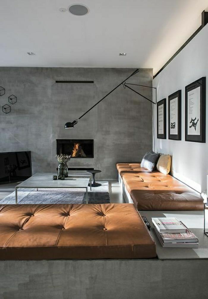 aménagement-industriel-canapé-en-cuir-marron-salon-en-cuir-murs-gris-cheminée