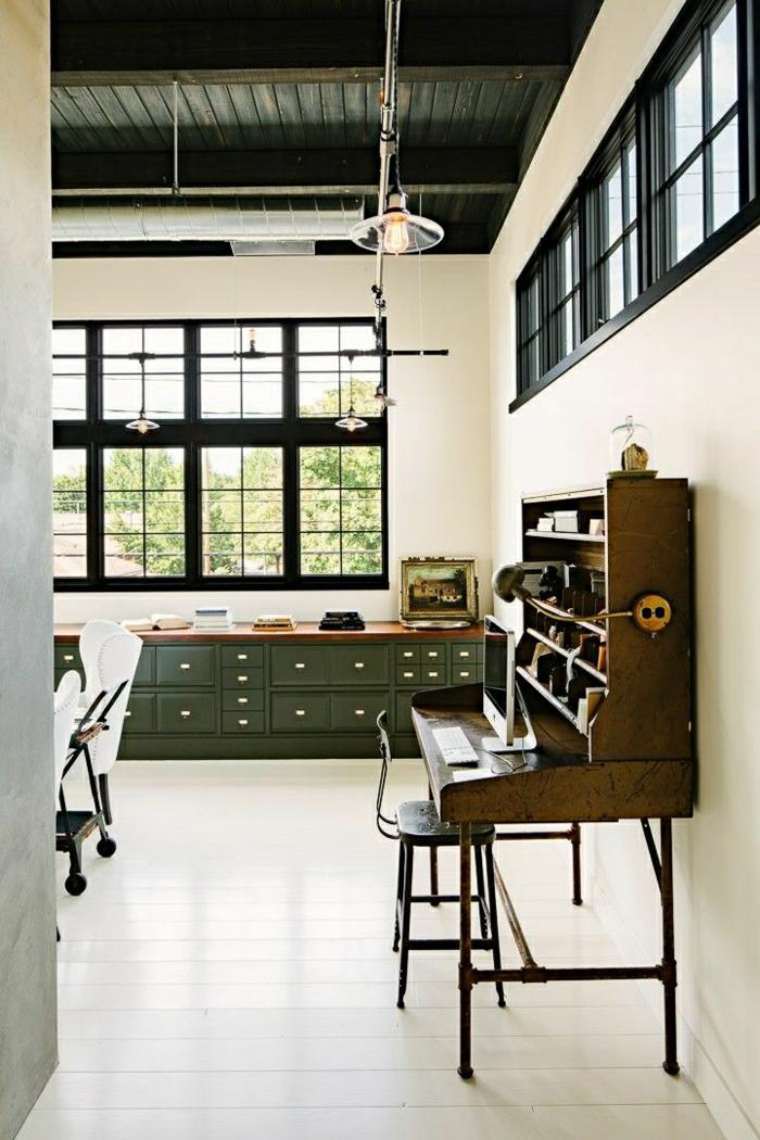 aménagement-industriel-meuble-rétro-loft-atelier-maison-loft-piano-rétro