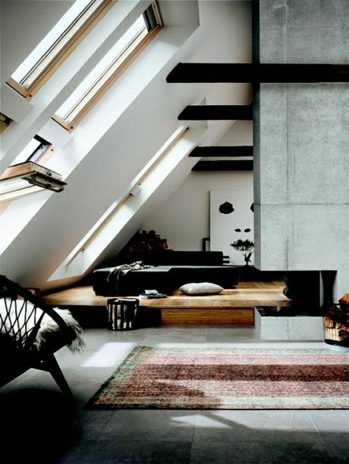 ateliers-et-lofts-atypique-tapis-coloré-mur-gris-peinture-murale-blanc-noir-mur-gris