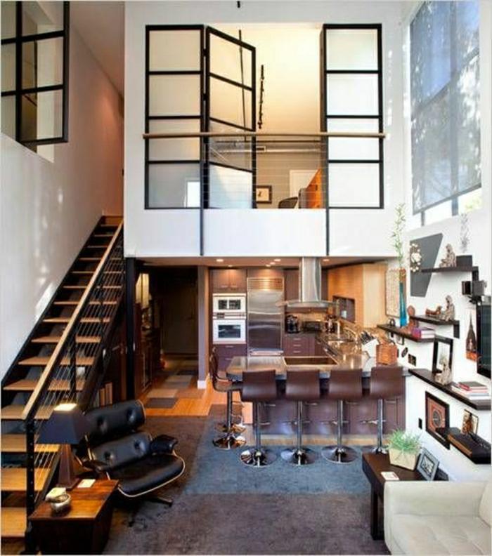 ateliers-et-lofts-plafond-haut-bar-chaises-de-bar-salon-vaste-salle-de-séjour